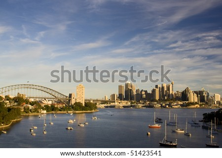 Sydney Australia city and bridge bay yacht day panoramic sunset colorful view