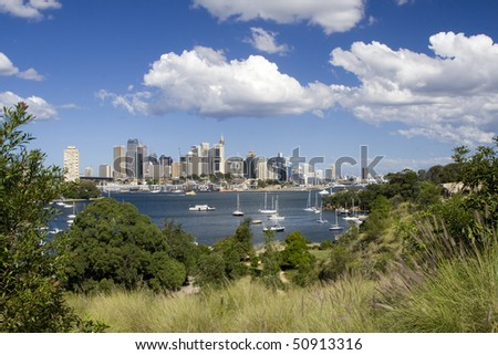 Sydney Australia city and bridge bay yacht day panoramic view from Waverton in green grass frame - stock photo
