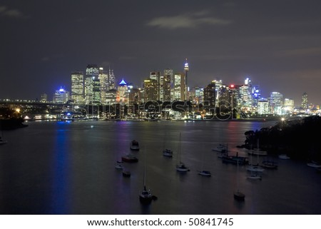 Sydney Australia city and bridge bay yacht night view from Waverton - stock photo