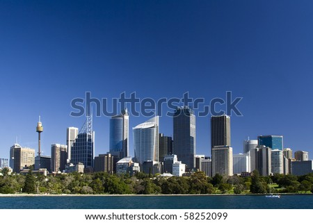 sydney australia city central business district view from royal botanic garden over bay blue skyline - stock photo