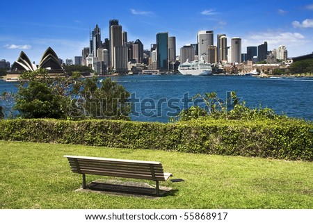 Sydney australia city panorama view from milsons point park bright summer day green plants and blue sky - stock photo