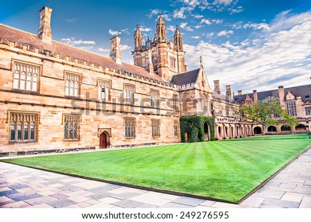 SYDNEY, AUSTRALIA-DEC 23, 2014:Quadrant Building at University of Sydney, Australia on Dec 23, 2014. Five Nobel or Crafoord laureates have been affiliated with the university as graduates and faculty. - stock photo