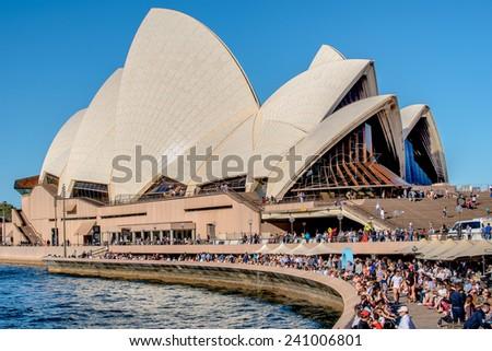 Sydney, Australia, DEC. 2014 : Visitors , party people at Sydney opera house, in Sydney Australia - stock photo