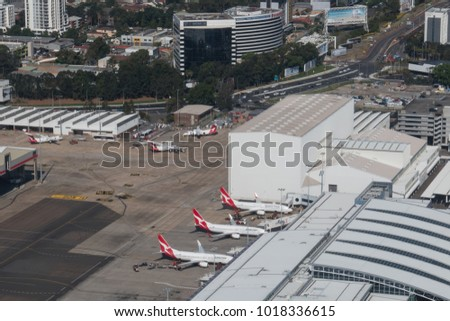 SYDNEY, AUSTRALIA - DECEMBER 16, 2017: Aerial view of Sydney airport