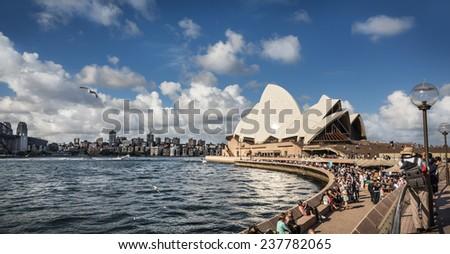 SYDNEY, AUSTRALIA - DECEMBER 12, 2014: Sydney Opera House view in Sydney, Australia. The Sydney Opera House is a famous arts center. It was designed by Danish architect Jorn Utzon - stock photo