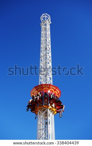 SYDNEY, AUSTRALIA -19 DECEMBER 2014- The Luna Park amusement park located at Milsons Point on the northern shore of Sydney Harbor  in Sydney, New South Wales, Australia. - stock photo
