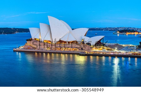 SYDNEY, AUSTRALIA - 08 DECEMBER 2014: The Sydney Opera House is a multi-venue performing arts center in Sydney, New South Wales, Australia. Situated on Bennelong Point in Sydney Harbour. - stock photo