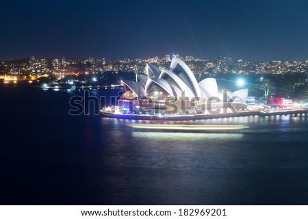 SYDNEY, AUSTRALIA - Feb 08, 2014: Night scene of Sydney Opera House in Australia - stock photo