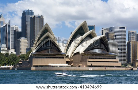 Sydney, Australia - February 28, 2016: The Opera House and Downtown in the background