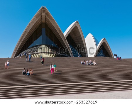 SYDNEY, AUSTRALIA - FEBRUARY 07, 2015: The Sydney Opera House is a multi-venue performing arts centre in Sydney, New South Wales, Australia - stock photo