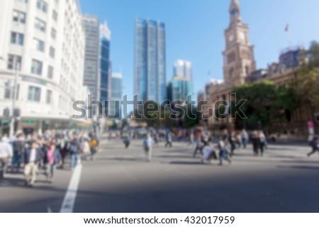 Sydney, Australia George Street crowd - stock photo