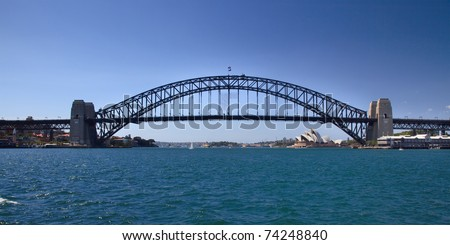 sydney australia Harbour bridge full side view panoramic iconic image blue water and sky connection of cities - stock photo