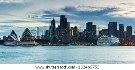 SYDNEY, AUSTRALIA- JAN 05: The Overseas Passenger Terminal on January 5th, 2013 in Sydney, Australia. The terminal is the key port for cruise ships departing for Pacific and New Zealand destinations - stock photo