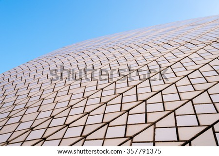 Sydney, Australia - January 11, 2014 : Architectural detail of Opera House in Sydney. Iconic Sydney Opera House is a multi-venue performing arts centre designed by Danish architect Jorn Utzon. - stock photo