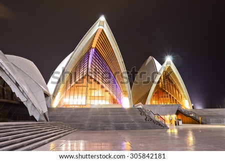 Sydney, Australia - January 24: Sydney Opera House at night on January 24, 2015 in Sydney, Australia. The Sydney Opera House is one of the most famous performing arts centers in the world. - stock photo