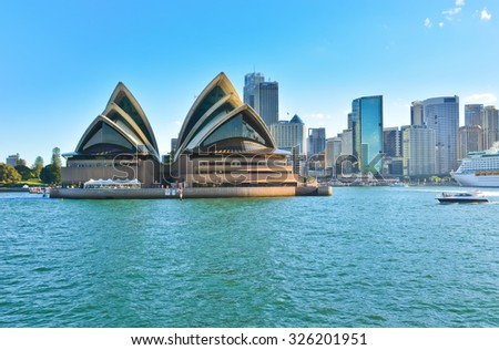 Sydney, Australia - January 25: Sydney skyline and Opera House in the afternoon on January 25, 2015 in Sydney, Australia. The Sydney Opera House is one of the most famous buildings in the world.