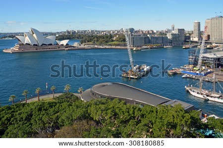Sydney, Australia - July 18, 2014: Aerial View of Sydney Harbour, Opera House & Circular Quay - stock photo