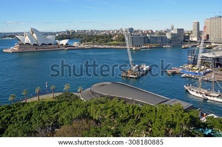 Sydney, Australia - July 18, 2014: Aerial View of Sydney Harbour, Opera House & Circular Quay - stock photo
