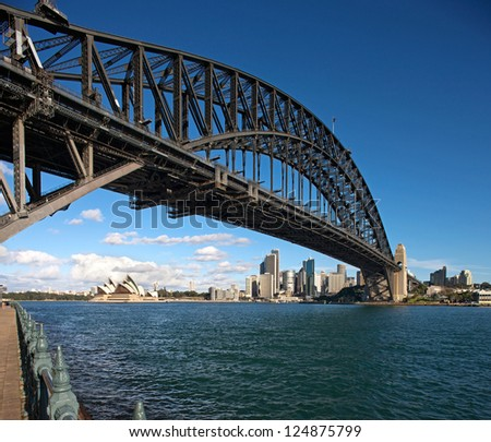 SYDNEY, AUSTRALIA - JULY 6 : Sydney Harbour Bridge that carries rail, vehicular, bicycle and pedestrian traffic and Sydney Opera House, a multi-venue arts center. Picture taken on July 6, 2012. - stock photo