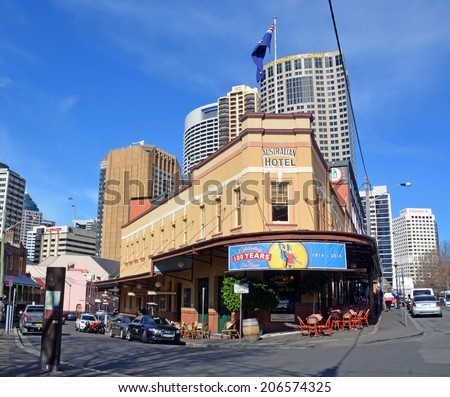 Sydney, Australia - July 18, 2014: The Australian Hotel in Sydney Rocks area celebrates 100 Years as one of Sydney's oldest pubs. - stock photo