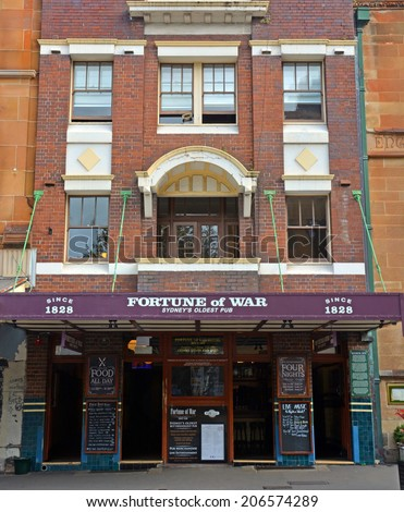 Sydney, Australia - July 19, 2014: The Fortune of War Pub & Restaurant in The Rocks District - Sydney's Oldest Pub.