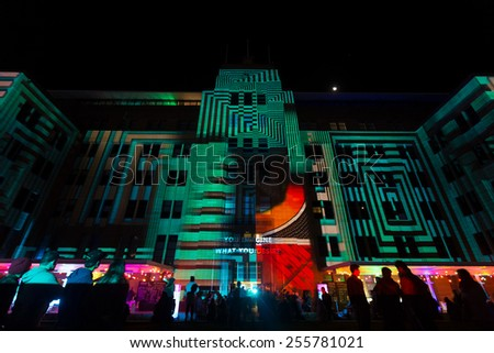 SYDNEY, AUSTRALIA - JUNE 7, 2014: Museum of contemporary arts during Vivid Sydney festival. Vivid Sydney is an outdoor annual cultural event featuring immersive light installations and projections.