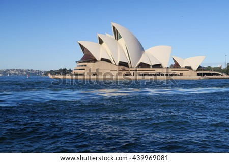 SYDNEY, AUSTRALIA JUNE 13 - Opera House from across the Harbour on a public Holiday for the Queens Birthday June 13 2016
