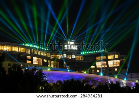SYDNEY, AUSTRALIA - JUNE 7, 2015: Star City Casino during Vivid Sydney festival. Vivid Sydney is an outdoor annual cultural event featuring immersive light installations and projections.