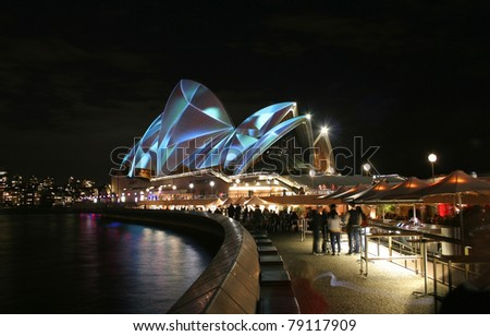 SYDNEY, AUSTRALIA - JUNE 6: Sydney Opera House lit up for the Vivid Sydney Festival, biggest international music and light festival in the southern hemisphere, June 6, 2011 in Sydney.