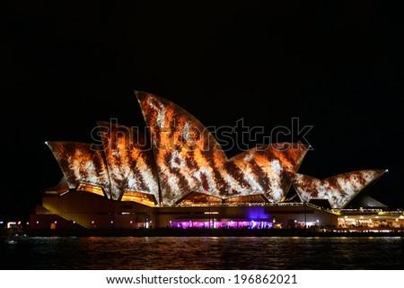 SYDNEY, AUSTRALIA - June 3: Sydney Opera House shown during Vivid Sydney:  A Festival of Light, Music & Ideas on May 25, 2013 to Jun 9 ,2013 in Sydney, Australia. - stock photo