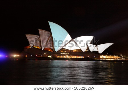 SYDNEY, AUSTRALIA - JUNE 11, 2012:  The Sydney Opera House becomes illuminated with spectacular visual art by various artists during the annual Vivid Sydney Festival on June 11, 2012