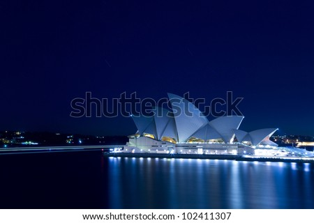 SYDNEY, AUSTRALIA - MARCH 22: Sydney's most famous icon, the Sydney Opera House at night time on March 22,2012 in Sydney, Australia. The Opera House will celebrate its 40th anniversary in 2013.