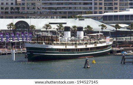 Sydney, Australia-March 17th 2013: The retired ferryboat S.S. South Steyne in Darling Harbour.The boat operated between Manly and Circular Quay for 36 years before being retired in 1974.
