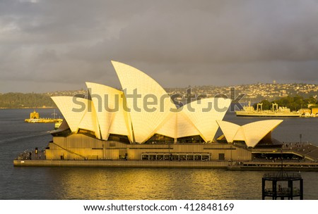 Sydney, Australia -March 16, 2016: The Sydney Opera House at sunset after storm