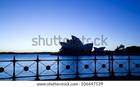 SYDNEY, AUSTRALIA - MARCH 22:View of Sydney's most famous icon, the Sydney Opera House on March 22,2012 in Sydney, Australia. The Opera House will celebrate its 40th anniversary in 2013. - stock photo