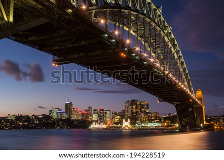 Sydney, Australia - May 12 - Sydney Harbour Bridge and Luna Park at dusk on 12th May 2014
