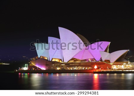 SYDNEY, AUSTRALIA - MAY 26, 2015;  Sydney Opera House illuminated for Vivid Sydney annual festival event put on each year by NSW Government and Destination NSW - stock photo