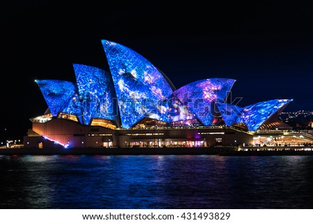 Sydney, Australia - 2016, May 27: Sydney Opera House illumination Songlines created by four aboriginal artists. Annual outdoor lighting festival Vivid Sydney