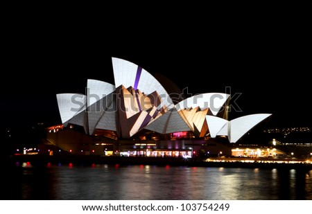 SYDNEY, AUSTRALIA - MAY 27: Sydney Opera House shown during Vivid Sydney 2012: A Festival of Light, Music & Ideas on May 27, 2012 in Sydney, Australia.