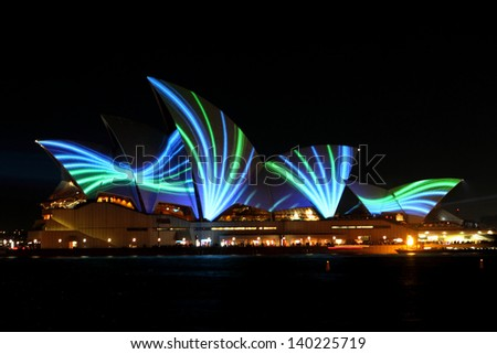 SYDNEY, AUSTRALIA - MAY 25: Sydney Opera House shown during Vivid Sydney: A Festival of Light, Music & Ideas on May 25, 2013 in Sydney, Australia.