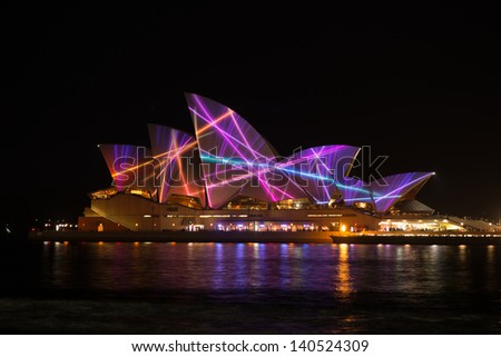 SYDNEY, AUSTRALIA - MAY 29: Sydney Opera House shown during Vivid Sydney: A Festival of Light, Music & Ideas on May 29, 2013 in Sydney, Australia.