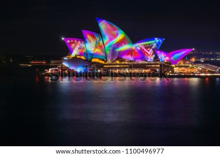 Sydney, Australia -May 25, 2018: Vivid Festival in Sydney Harbour, Australia. Spectacular and popular outdoor lighting and projections are displayed on the sails of Opera House.