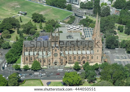 SYDNEY, AUSTRALIA - NOVEMBER 17, 2014: Hyde park in Sydney from Westfield Tower. St Mary's Cathedral