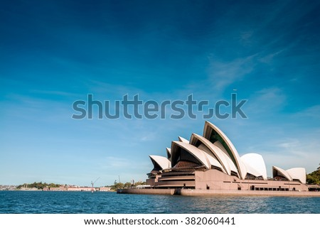 Sydney, Australia - November 09, 2015: The Sydney Opera House is a multi-venue performing arts centre identified as one of the most distinctive buildings. It was formally opened on 20 October 1973. - stock photo