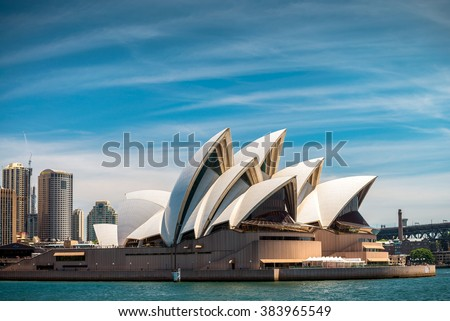 Sydney, Australia - November 10, 2015: The Sydney Opera House is a multi-venue performing arts centre identified as one of the 20th century's most distinctive buildings - stock photo