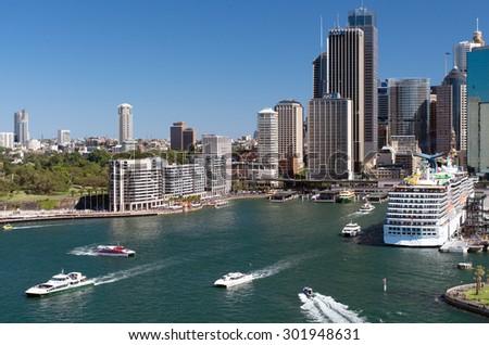 SYDNEY, AUSTRALIA - NOVEMBER 02, 2014. View of Circular Quay from the Harbour Bridge - stock photo