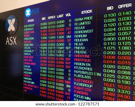 SYDNEY, AUSTRALIA - OCT 15: The electronic display board of the Australian Stock Exchange on October 15, 2012. Australian shares have been mostly stable  despite  world economic crisis. - stock photo