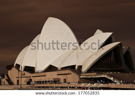 SYDNEY, AUSTRALIA � OCTOBER 17: at Sydney Harbour overlooking the Sydney Opera House after fire storm blew smoke and storm front through the city on October 17, 2013 in Sydney, Australia.