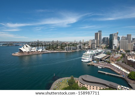 Sydney, Australia - October 5, 2013 : Opera house is the landmark of Sydney city and Australia locate in Sydney harbour. - stock photo
