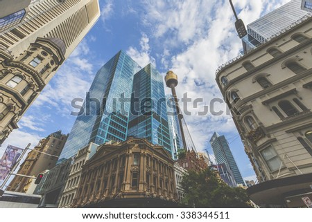 SYDNEY, AUSTRALIA - OCTOBER 26, 2015: Skyline of Sydney with city central business district. - stock photo